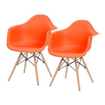 Orange Plastic Shell Chair with Arm Rest (Set of 2)