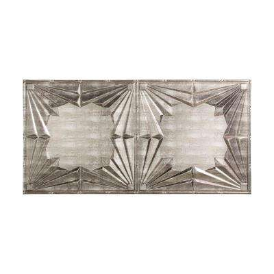 Art Deco - 2 ft. x 4 ft. Glue-up Ceiling Tile in Crosshatch Silver
