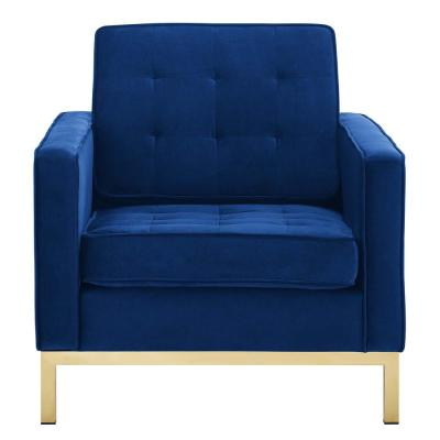 Loft Gold Navy Stainless Steel Performance Velvet Armchair