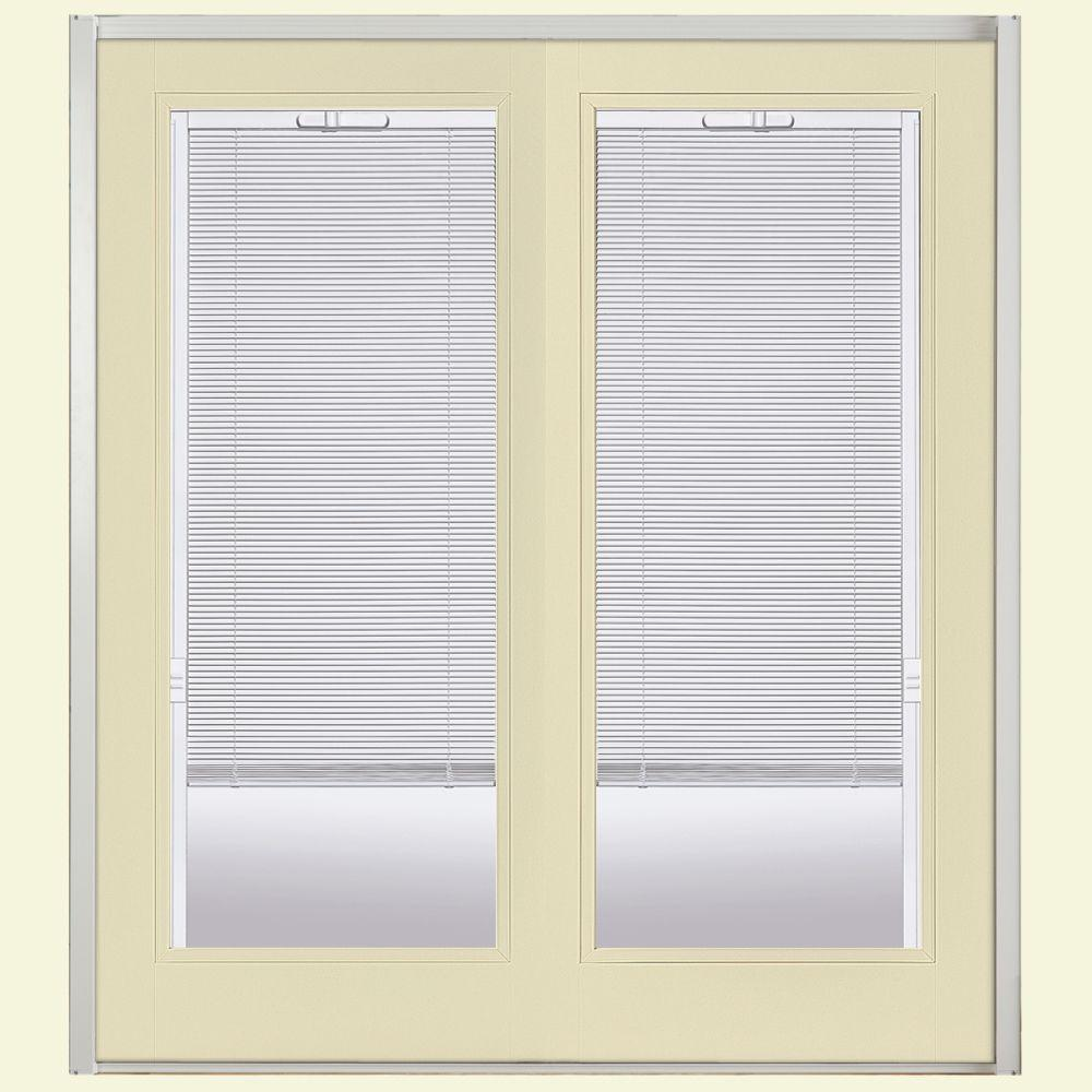 Masonite 72 in. x 80 in. Golden Haystack Prehung Right-Hand Inswing Mini Blind Steel Patio Door with No Brickmold in Vinyl Frame