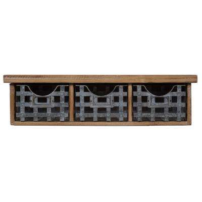 Reclaimed 21.1 in. W x 6.4 in. Brown and Gray Decorative Shelf