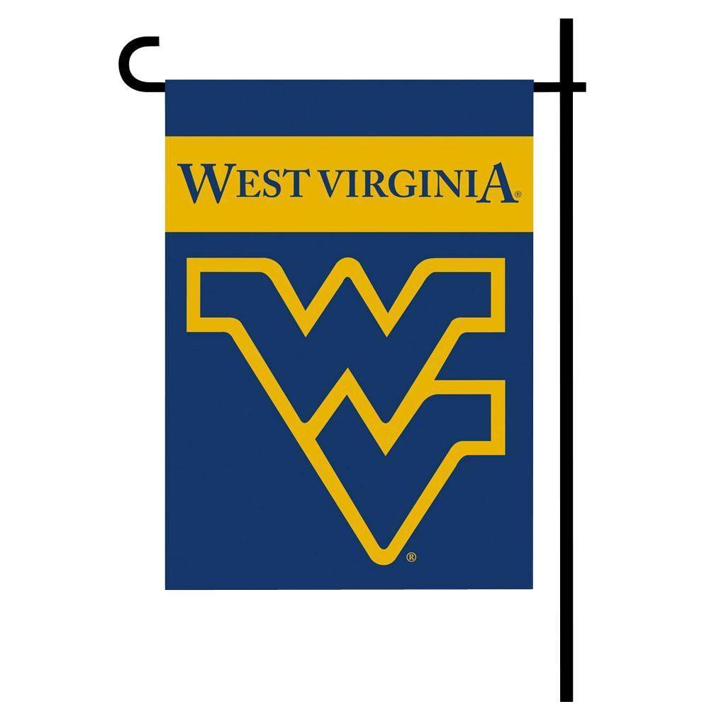 BSI Products NCAA 13 in. x 18 in. West Virginia 2-Sided Garden Flag Set with 4 ft. Metal Flag Stand