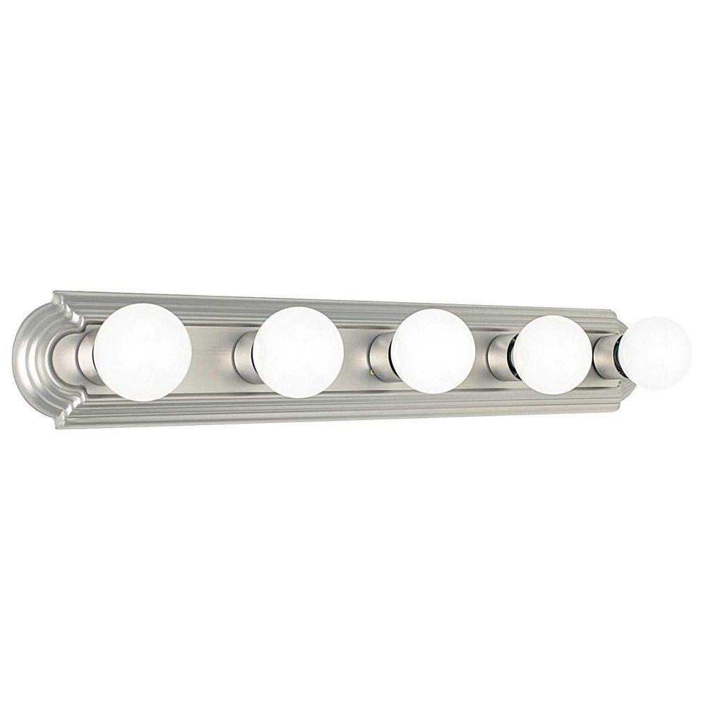Hollywood 5-Light Satin Nickel Bath Bar Light