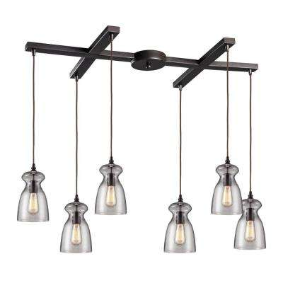 Menlow Park 6-Light Oiled Bronze Ceiling Mount Pendant