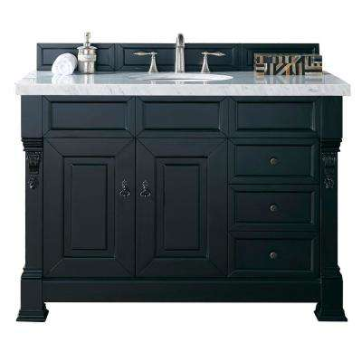 Brookfield 48 in. W Single Vanity with Drawers in Antique Black with Marble Vanity Top in Carrara White with White Basin