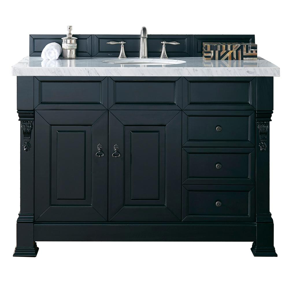 James Martin Vanities Brookfield 48 in. W Single Vanity with Drawers in Antique Black with Marble Vanity Top in Carrara White with White Basin