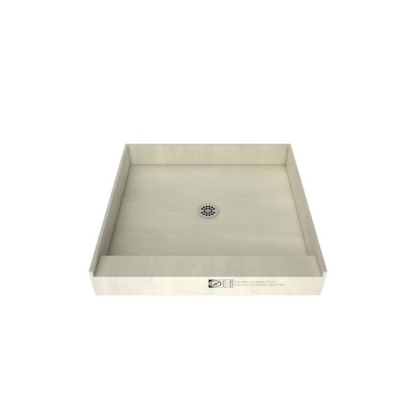 Redi Base 36 in. x 36 in. Single Threshold Shower Base with Center Drain and Polished Chrome Drain Plate