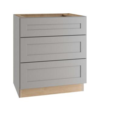 Tremont Assembled 30x34.5x24 in. Plywood Shaker 3 Drawer Base Kitchen Cabinet Soft Close Drawers in Painted Pearl Gray