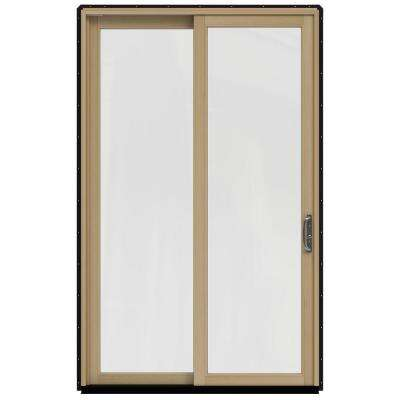 59.25 in. x 95.5 in. W-2500 Black Prehung Right-Hand Sliding 1-Lite Pine Patio Door with Unfinished Interior