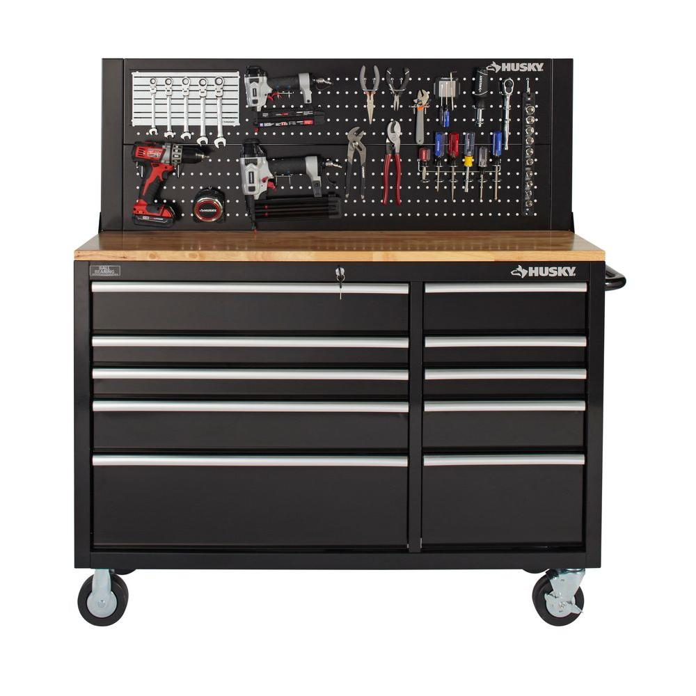 Heavy Duty Pegboard Back Wall Tool Cabinet Panel Mounted Steel Black 52 Inches