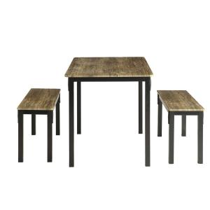 Internet #300522795. 4D Concepts Boltzero 3 Piece Walnut And Black Dining  Set