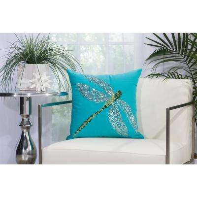 Beaded Dragonfly 18 in. x 18 in. Turquois Green Indoor and Outdoor Pillow