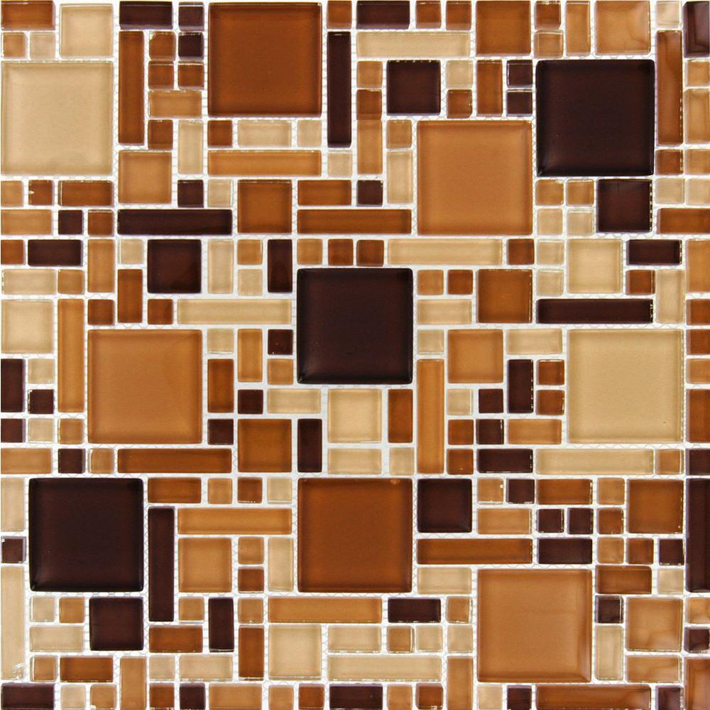 null Chestnut Blend Magic Pattern 12 in. x 12 in. x 8 mm Glass Mesh-Mounted Mosaic Tile