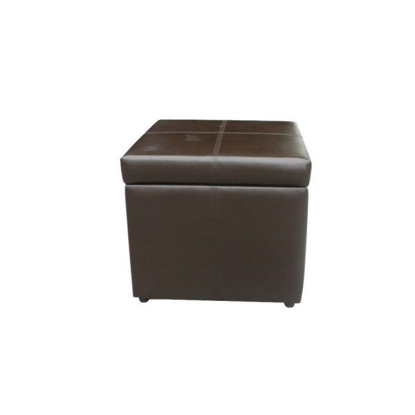 Marvelous Square Brown Pu Leather Storage Ottoman Pabps2019 Chair Design Images Pabps2019Com