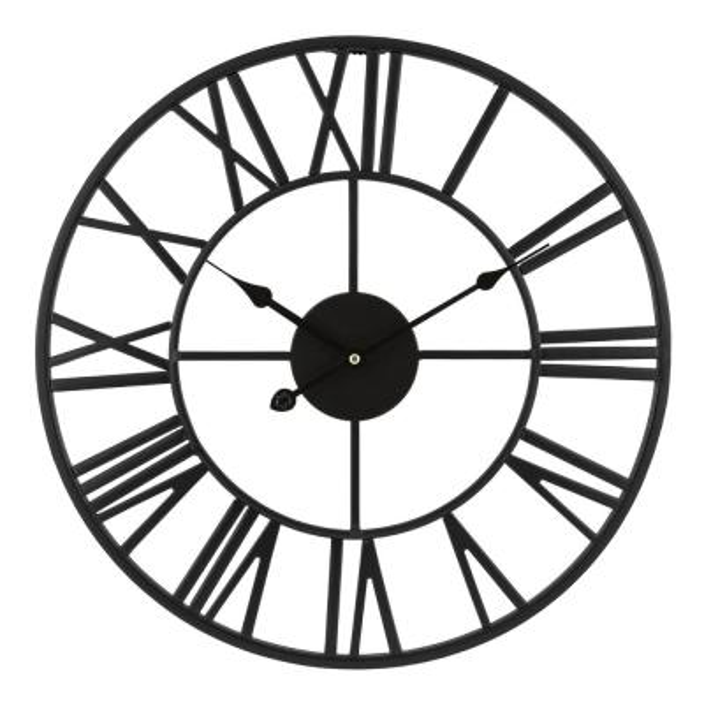18 in. Black Metal Skeleton Vintage Quartz clock