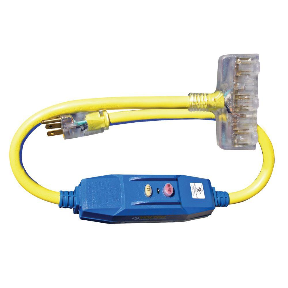 Voltec 3 ft. 12/3 STW 20-Amp In-Line GFCI Power Block Adapter with Lighted End – Yellow with Blue Stripe