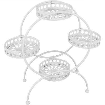 28 in. White Steel Ferris Wheel Plant and Flower Stand