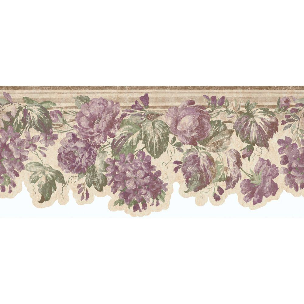 The Wallpaper Company 8.75 in. x 15 ft. Mauve Roses Die Cut Border-DISCONTINUED