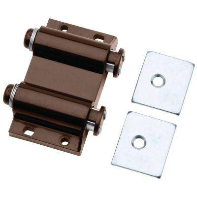 2 in. Brown Spring-Loaded Double Magnetic Touch Catch with Strikes