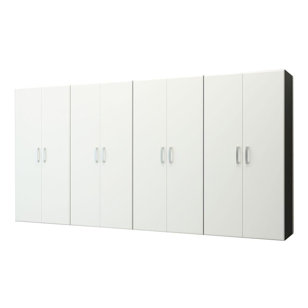Jumbo Modular Wall Mounted Garage Cabinet Storage Set in White (4-Piece)