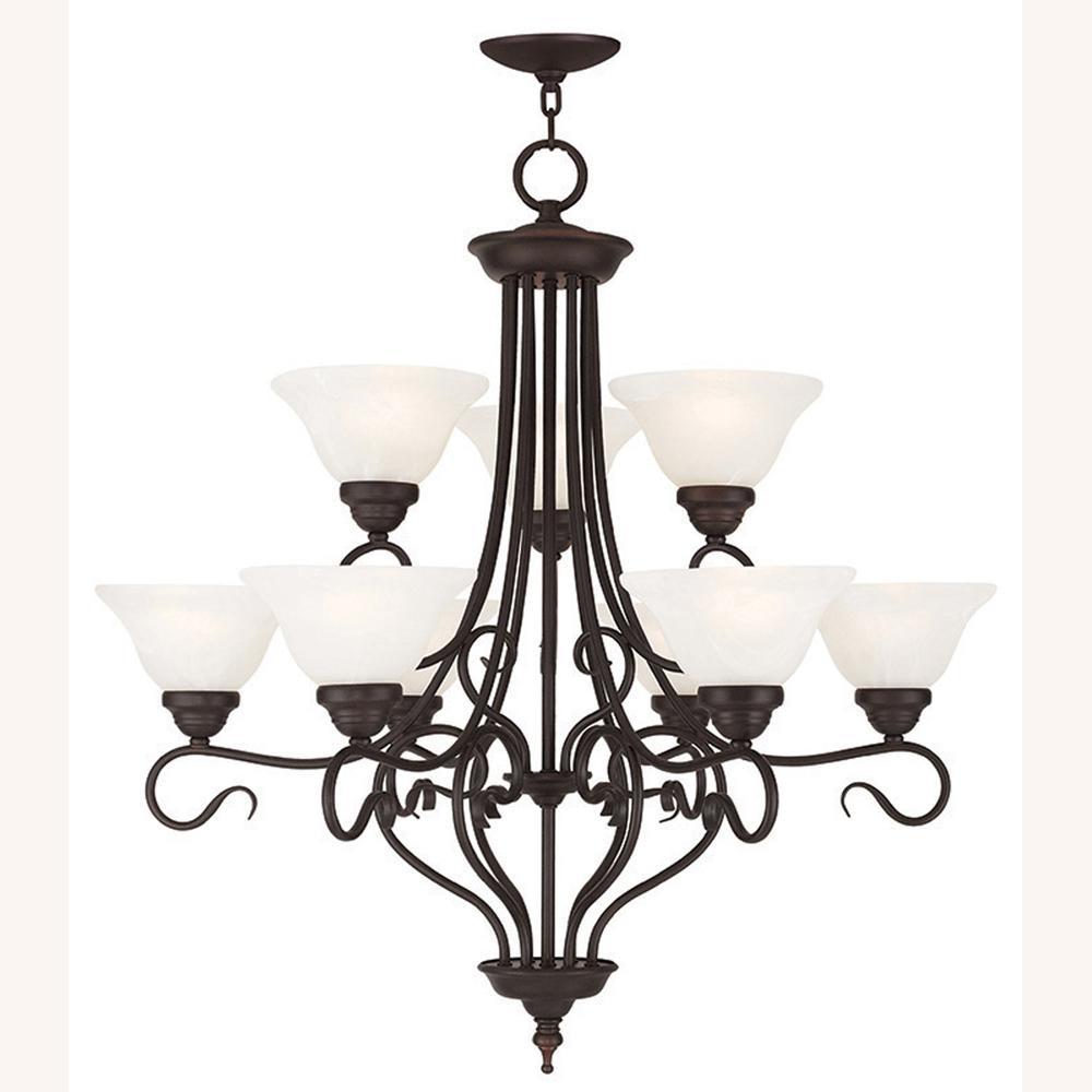 Coronado 9-Light Bronze Chandelier with White Alabaster Glass Shade