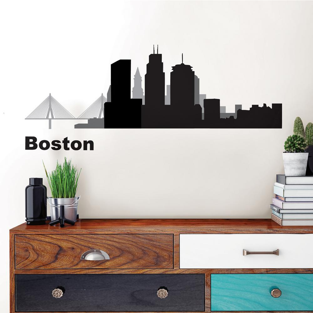 Boston Black Cityscape Wall Art Kit