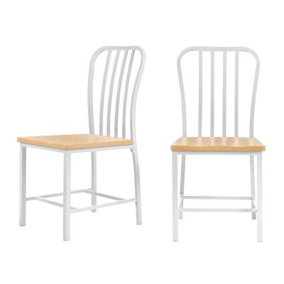 Donnelly White Metal Dining Chair with Natural Finish Wooden Seat (Set of 2) (17.72 in. W x 47.40 in. H)