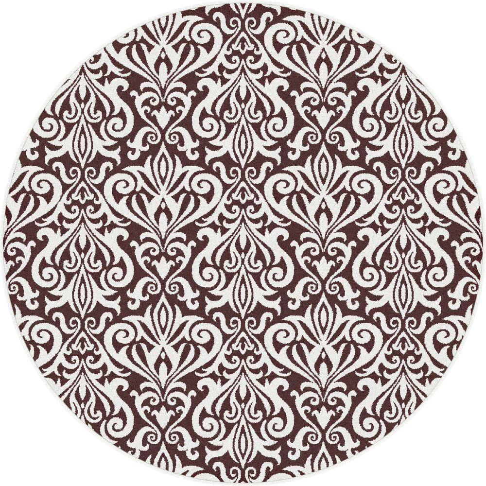 Tayse Rugs Metro Brown 5 ft. 3 in. x 5 ft. 3 in. Round Contemporary Area Rug