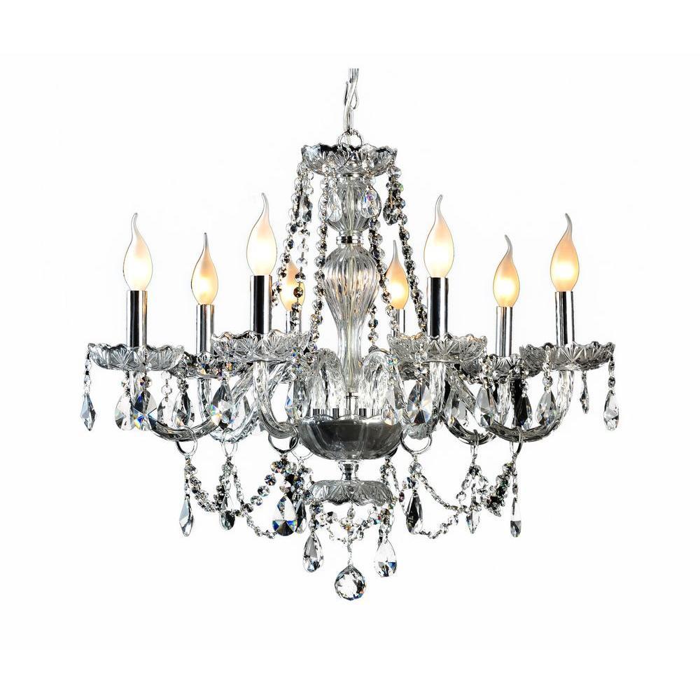 decor living 8-light crystal and chrome chandelier-104993-15