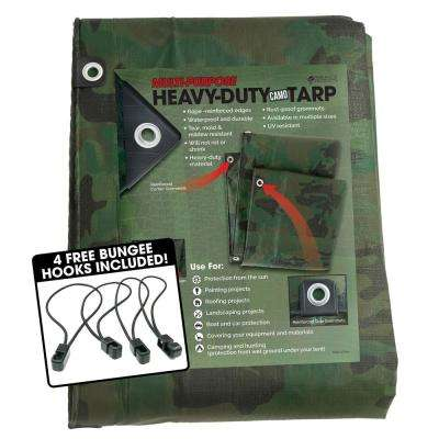 12 ft. x 25 ft. Heavy-Duty CAMO Reversible Poly 10 mil Tarp Kit Includes 4 Free Bungee Hook Tie Downs