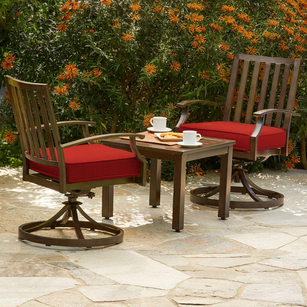 Bridgeport 3-Piece Metal Outdoor Bistro Set with Red Cushions