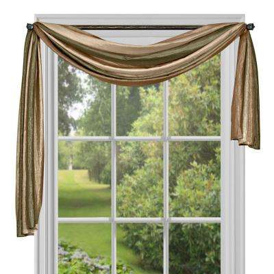 Semi-Opaque Ombre Polyester 50 in. W x 144 in. L Scarf Curtain in Earth
