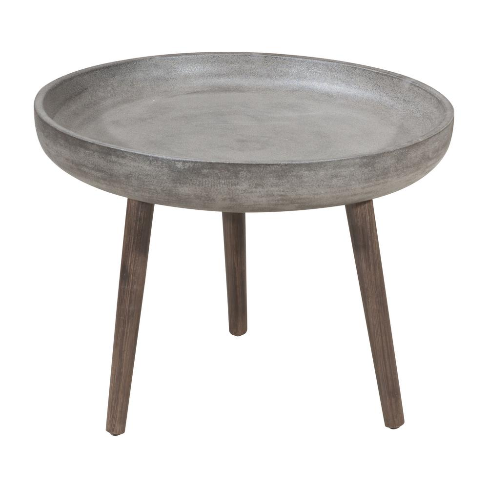 Brother Wood Outdoor Patio Side Table In Cement And Natural
