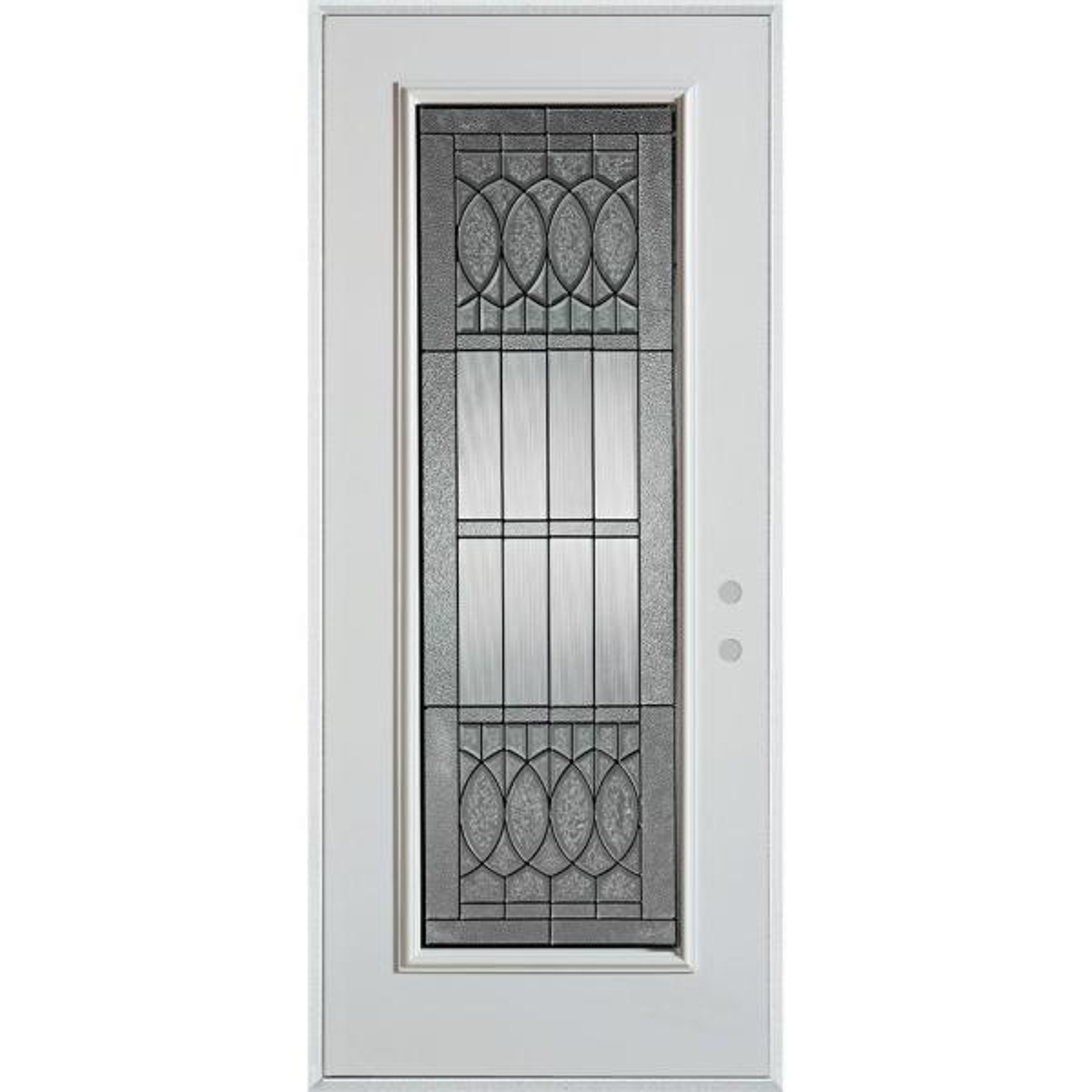 32 in. x 80 in. Nightingale Patina Full Lite Painted White Left-Hand Inswing Steel Prehung Front Door