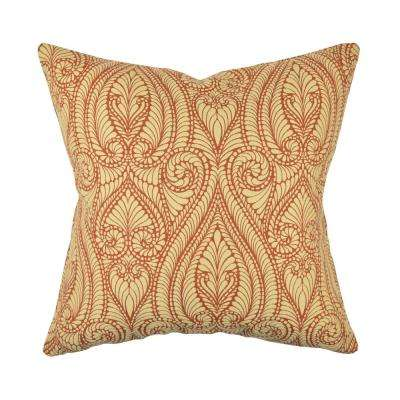 Classic Orange and Cream Damask Throw Pillow