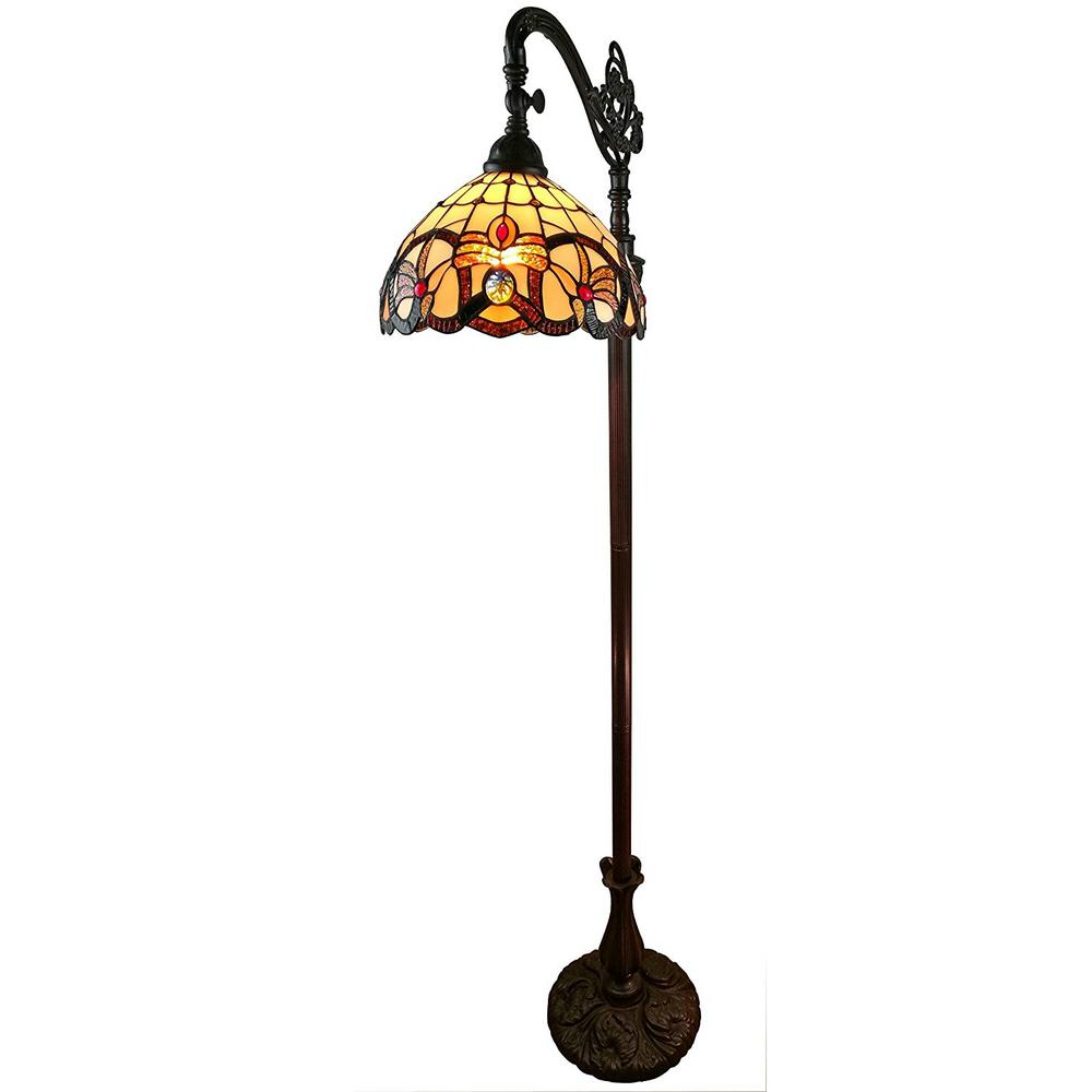 Amora lighting floor lamps lamps the home depot tiffany style multicolored victorian reading floor lamp aloadofball Image collections