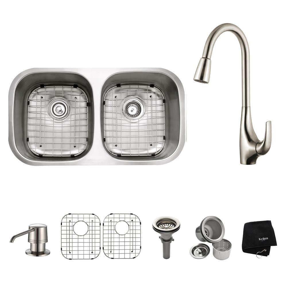 All-in-One Undermount Stainless Steel (Silver) 32 in. Double Bowl Kitchen Sink with Faucet and Accessories in Stainless Steel