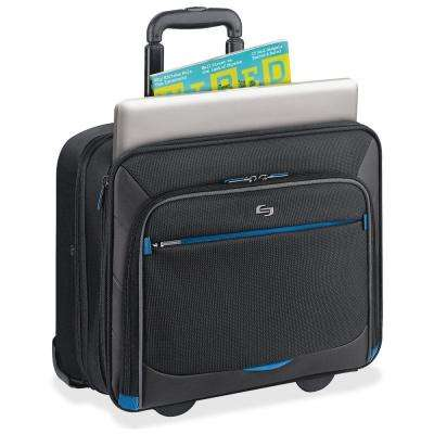 16 in. Black/Blue Polyester Tech Notebook Carrying Case with Handle