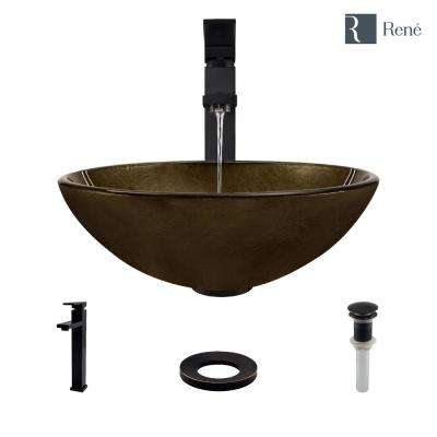 Glass Vessel Sink in Regal Bronze and Earth Tones with R9-7003 Faucet and Pop-Up Drain in Antique Bronze