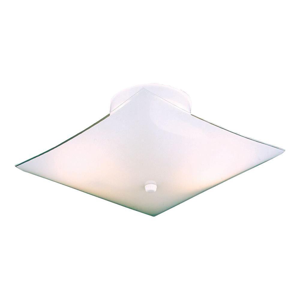 thomas lighting 2light white ceiling semiflush mount light