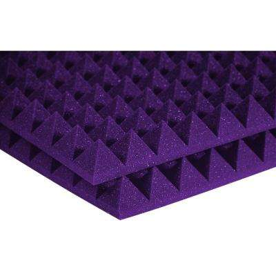 2 ft. W x 2 ft. L x 2 in. H Studio Foam Pyramid Panels - Purple (Half-Pack: 12 Panels per Box)