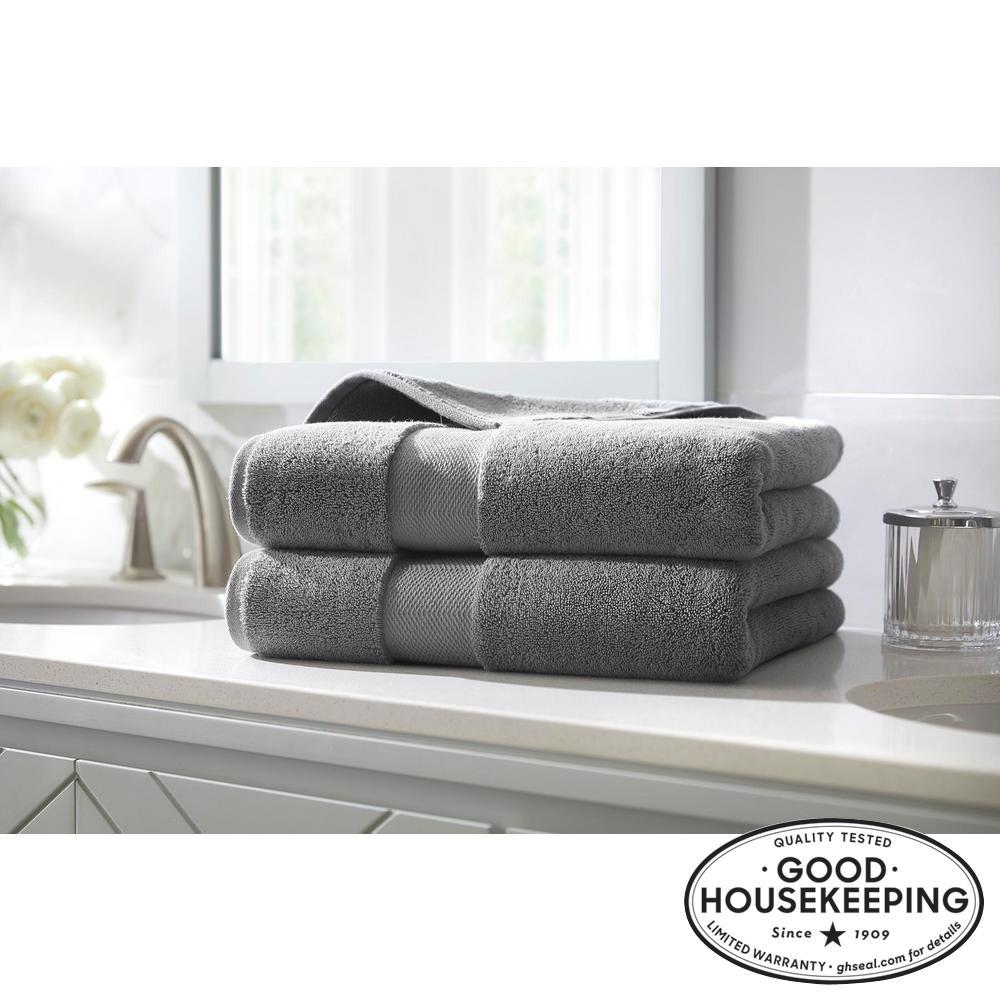 Plush Soft Cotton Bath Towel in Stone Gray (Set of 2)