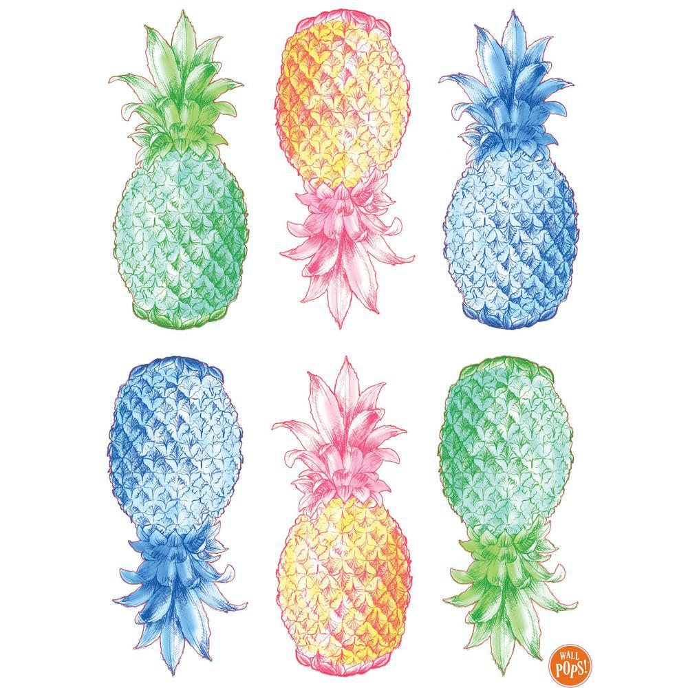 Wall Pops 24 In X 17 5 In Multi Color Pop Pineapple Wall