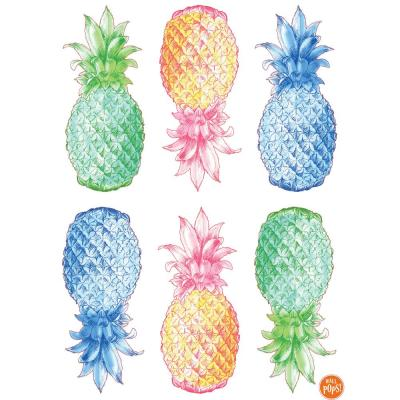 24 in. x 17.5 in. Multi-Color Pop Pineapple Wall Decal