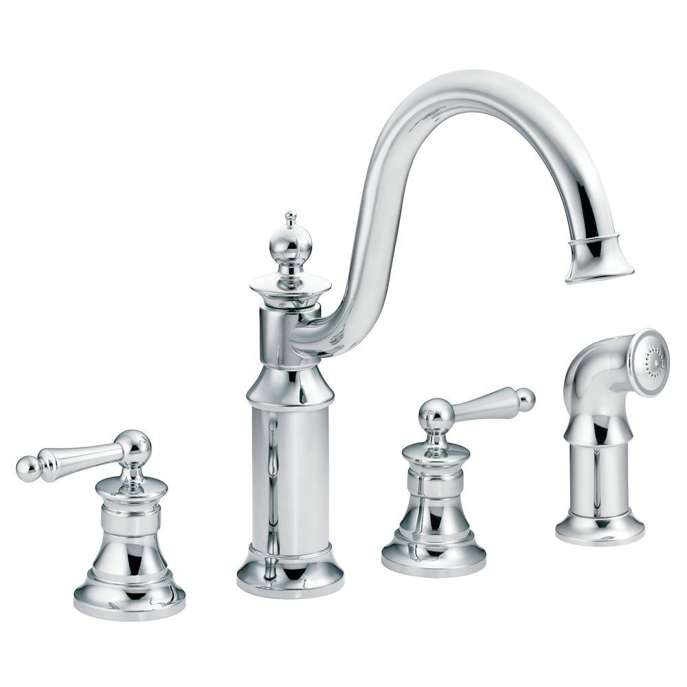 MOEN Waterhill High-Arc 2-Handle Standard Kitchen Faucet with Side Sprayer in Chrome