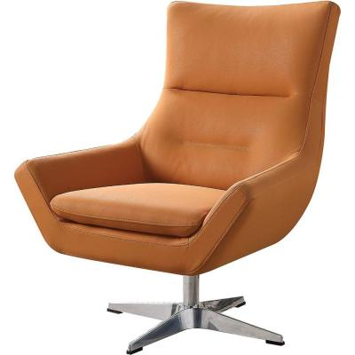 Faux Leather Orange Upholstered Accent Chair with Swivel Seat and Metal Base