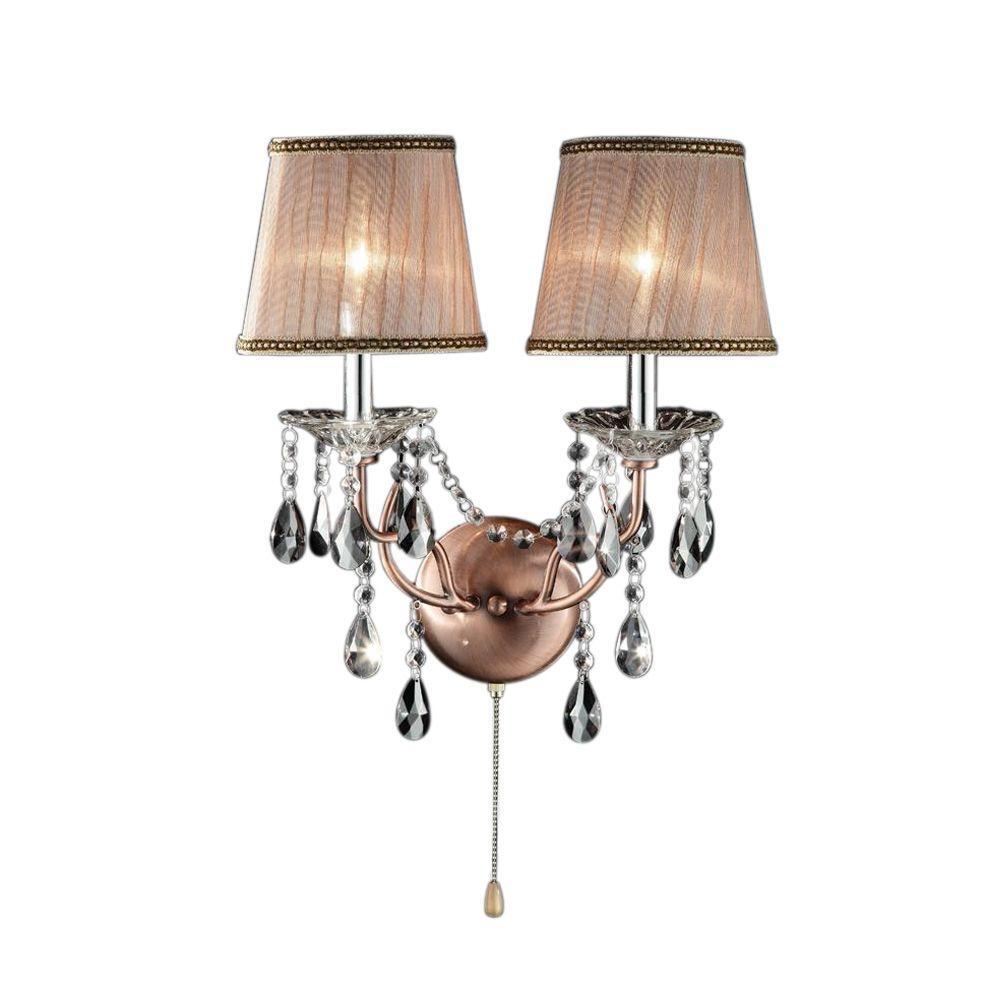 2-Light Antique Brass Rosie Crystal Sconces