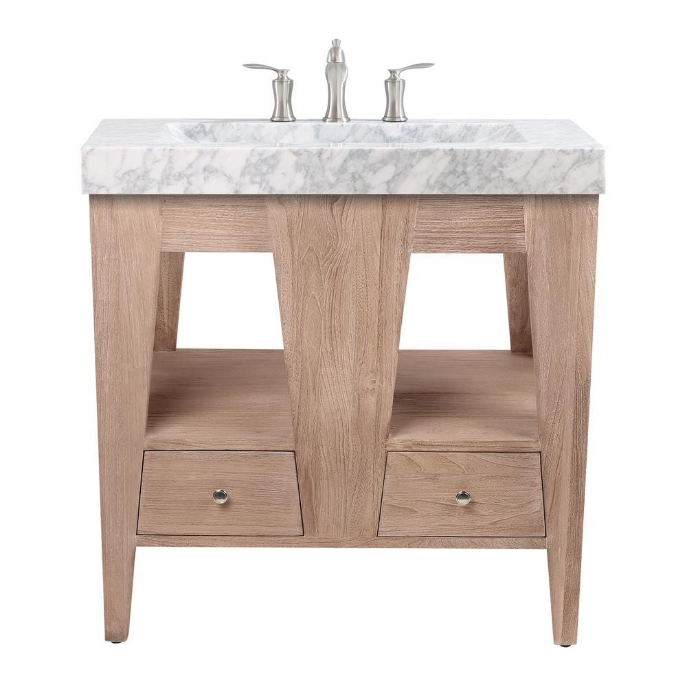 Jameston 33 in. Vanity in Rustic Teak with Carrara Basin Marble Top