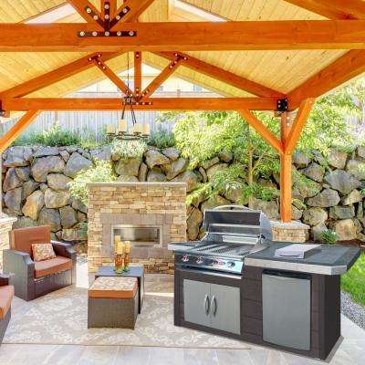 7 ft. Synthetic Wood Panel Grill Island and 4-Burner Gas Grill in Stainless Steel