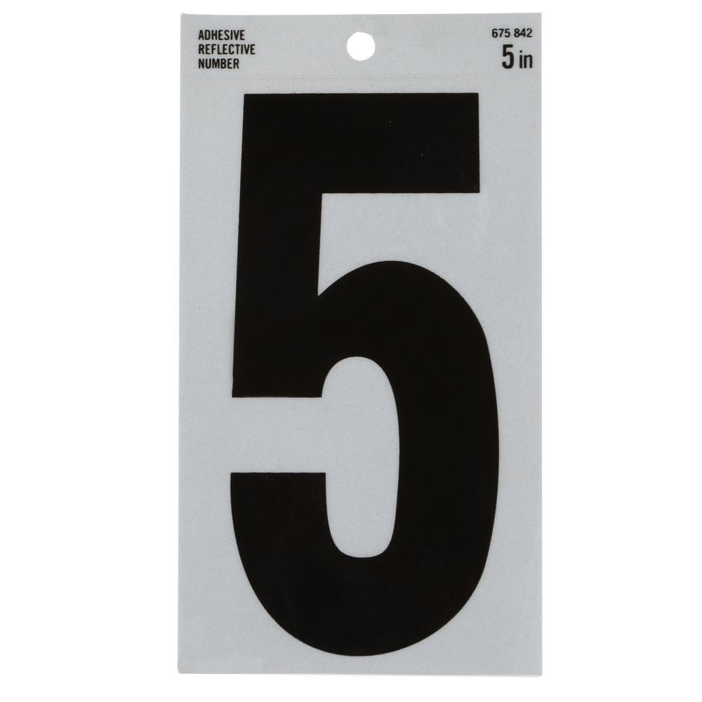 5 in. Vinyl Reflective Number 5